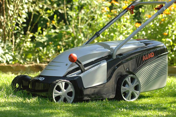 Petrol rotary lawn mower.